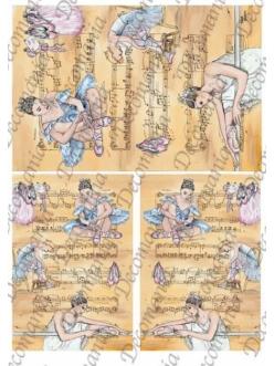 """Рисовая бумага Decomania 5061 """"Балерина и ноты"""", 35х50см,  20 г/м2"""