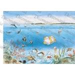"Рисовая бумага Decomania 5068 ""Море, рыбки, кораллы"", 35х50см,  20 г/м2"