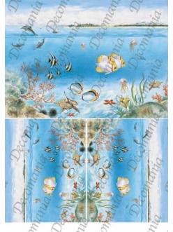 "Рисовая бумага Decomania 5069 ""Море, рыбки, кораллы"", 35х50см,  20 г/м2"