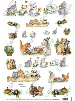"""Рисовая бумага Decomania 5158 """"Котята и бабочки"""", 35х50 см"""