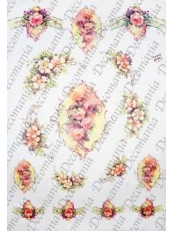"""Рисовая бумага Decomania AM7705 """"Розы в рамочках"""" (серия Sonie Ames), 35х50 см"""