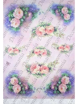 """Рисовая бумага Decomania AM7711 """"Розы"""" (серия Sonie Ames), 35х50 см"""
