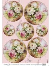 """Рисовая бумага Decomania AM7728 """"Розы в круглой рамке"""" (серия Sonie Ames), 35х50 см, 20 г/м2"""