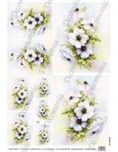 "Рисовая бумага Decomania AM7729 ""Анемоны"" (серия Sonie Ames), 35х50 см, 20 г/м2"