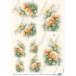 """Рисовая бумага Decomania AM7733 """"Оранжевые розы"""" (серия Sonie Ames), 35х50 см, 20 г/м2"""