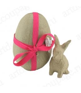 Заготовка фигурка из папье-маше Яйцо разъемное с кроликом, 11х11х16 см, Decopatch (Франция)