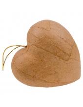 """Заготовка фигурка из папье-маше """"Сердце"""" на подвесе 8,5х4 см, Decopatch"""