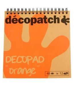 Бумага для декопатч блокнот Оранжевый 15х15 см, 48 листов, 12 дизайнов, Decopatch