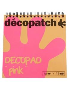 Бумага для декопатч блокнот Розовый 15х15 см, 48 листов, 12 дизайнов, Decopatch