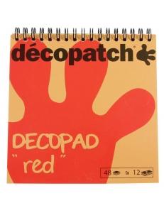 Бумага для декопатч блокнот Красный 15х15 см, 48 листов, 12 дизайнов, Decopatch