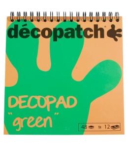 Бумага для декопатч блокнот Зеленый 15х15 см, 48 листов, 12 дизайнов, Decopatch