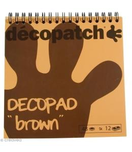 Бумага для декопатч блокнот Коричневый 15х15 см, 48 листов, 12 дизайнов, Decopatch