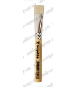 Кисть плоская Decopatch № 10, щетина, короткая ручка 9 см