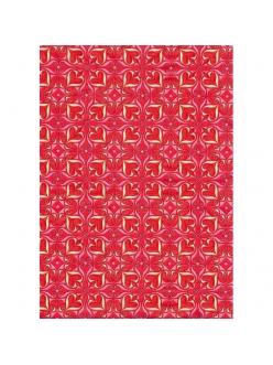 Бумага для декопатч Сердечки  красно-желтые, Decopatch 396, 30х40 см
