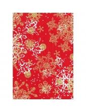 """Бумага для декопатч 482 """"Снежинки на красном"""", Decopatch (Франция), 30х40 см"""