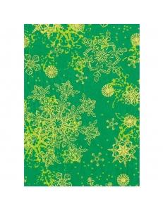 """Бумага для декопатч 483 """"Снежинки на зеленом"""", Decopatch (Франция), 30х40 см"""