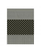 """Бумага для декопатч 485 """"Полоска, клетка, горох черный"""", Decopatch (Франция), 30х40 см"""