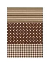"""Бумага для декопатч 487 """"Полоска, клетка, горох коричневый"""", Decopatch (Франция), 30х40 см"""