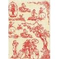 """Бумага для декопатч """"ХIХ век, красно-бежевый"""", Decopatch (Франция), 30х40 см"""