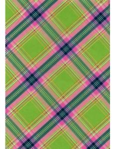 """Бумага для декопатч """"Клетка зелено-розовая"""", Decopatch (Франция), 30х40 см"""