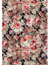 """Бумага для декопатч """"Розовые пионы на черном"""", Decopatch (Франция), 30х40 см"""