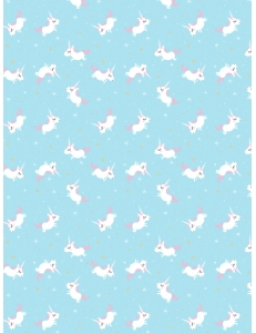 """Бумага для декопатч """"Единорожек на голубом"""", Decopatch (Франция), 30х40 см"""