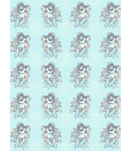 """Бумага для декопатч """"Ангелочки на голубом"""", Decopatch (Франция), 30х40 см"""