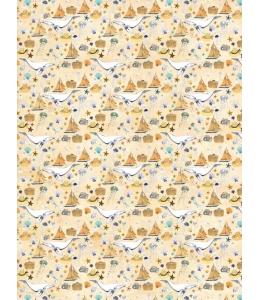 """Бумага для декопатч """"Киты и корабли на песочном"""", Decopatch (Франция), 30х40 см"""