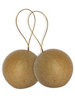 Заготовки из папье-маше Шары новогодние на шнурке, 9 см, 2 штуки, Decopatch