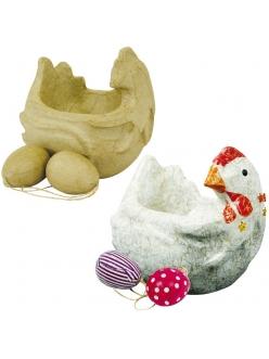 Фигурка из папье-маше Курочка и два яйца, 9,5х14х14 см, Decopatch