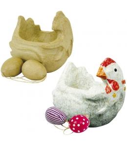 """Заготовка для декора, фигурка из картона (папье-маше) """"Курочка и два яйца"""", 9,5х14х14 см, Decopatch (Франция)"""