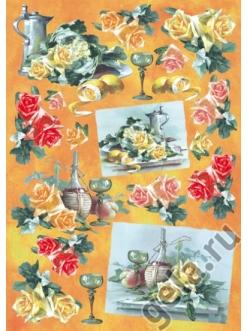 "Декупажная карта Stamperia DFG208 ""Розы, натюрморты"", 50х70 см"