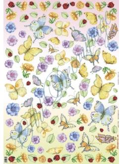"""Декупажная карта Stamperia DFG241 """"Бабочки, божьи коровки и анемоны"""", 50х70 см"""