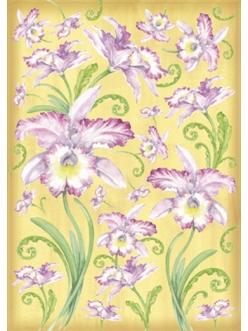 """Декупажная карта Stamperia DFG275 """"Орхидеи на желтом фоне"""", 50х70 см"""