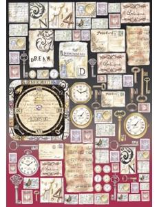 "Декупажная карта Stamperia DFG295 ""Часы, ключи, открытки, винтаж"", 50х70 см"