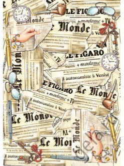 Декупажная карта Старые газеты, 50х70 см, Stamperia DFG312