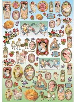 Декупажная карта Винтажные этикетки, дети и ангелы, 50х70см, Stamperia