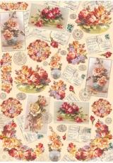 """Декупажная карта Stamperia DFG334 """"Розы, открытки, письма, печати"""", 50х70 см"""