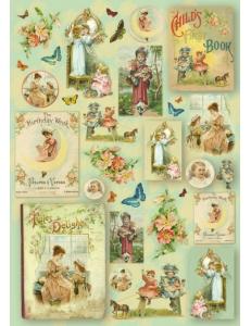 """Декупажная карта Stamperia """"Винтажные открытки с детьми и розы"""", 50х70см"""