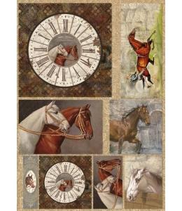 "Декупажная карта Stamperia DFG396 ""Винтажные часы, лошади"", 50х70 см"