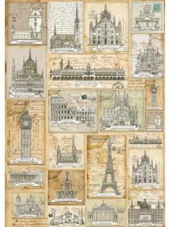 Декупажная карта Stamperia DFG398 Города Европы, 50х70 см
