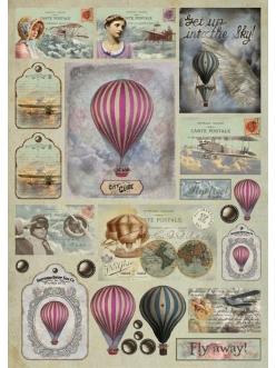 Декупажная карта Воздушные шары, 50х70 см, Stamperia