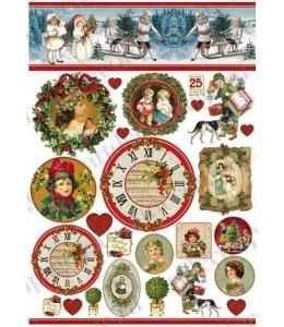 "Декупажная карта Stamperia DFG412 ""Рождество, дети, циферблаты"" винтаж, 50х70 см, Stamperia"