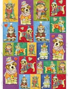 """Декупажная карта Stamperia DFG418 """"Собаки в новогоднем наряде"""", 50х70 см, Stamperia"""