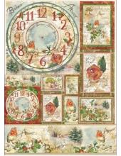 """Декупажная карта Stamperia DFG435 """"Рождественские цветы и поэзия"""", 50х70 см"""
