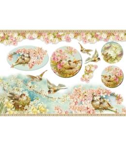 """Декупажная карта матовая Stamperia DFGS023 """"Птицы в цветущем саду"""", 33х48 см"""
