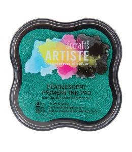 Штемпельная подушка пигментная Pigment Ink Pad DOA550125, зеленый перламутр, Docrafts (Великобритания)