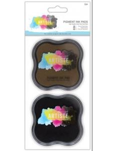 Штемпельные подушки пигментные Pigment Ink Pad черный и коричневый, Docrafts Великобритания