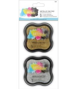 Штемпельные подушки пигментные Pigment Ink Pad золотой и серебристый, Docrafts Великобритания
