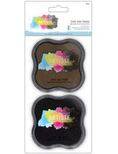 Штемпельные подушки Dye Ink Pad быстросохнущие, набор черный и коричневый, Docrafts (Великобритания)